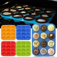Lefull engrossado 12-hole cupcake bandeja redonda molde de bolo de silicone para cozinha diy ferramenta de cozimento muffin cup