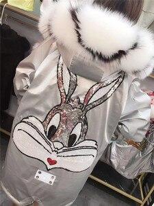 Image 5 - Natural Fox Fur Collar Hooded Warm Silver Parkas Back Cartoon Rabbit Sequins Real Rabbit Fur Liner Women Winter Jacket Oversized