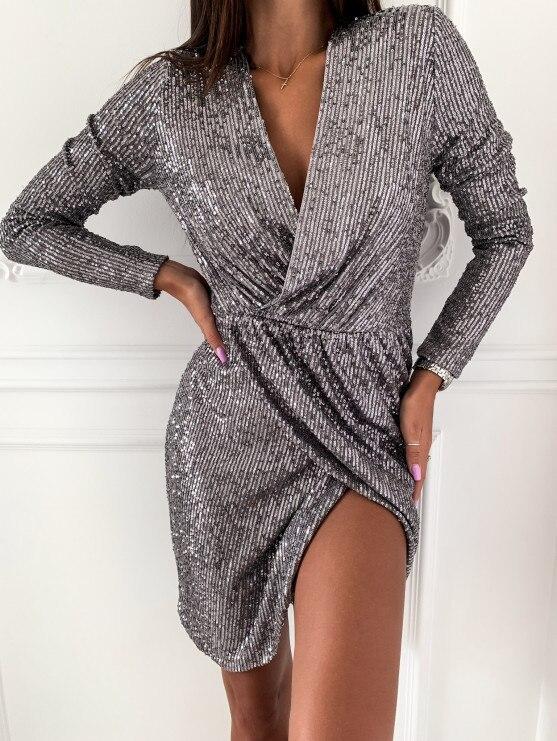 Лидер продаж, женские открытые облегающие платья с v-образным вырезом, Осеннее сексуальное блестящее мини-платье с блестками, зимнее вечерн...