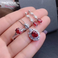 Natural Real Pigeon Blood Ruby set for women Party Wedding Necklace Ring Earrings Fine Jewelry Set Genuine red Gemstones S925