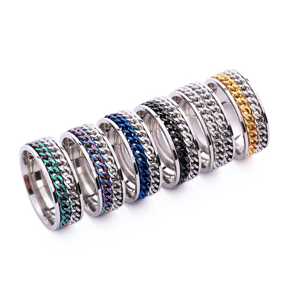 Loredana, Трендовое кольцо 8 мм, Спиннер из нержавеющей стали, панк, для мужчин, цвета: черный, синий, вращающееся кольцо на цепочке, обручальные к...