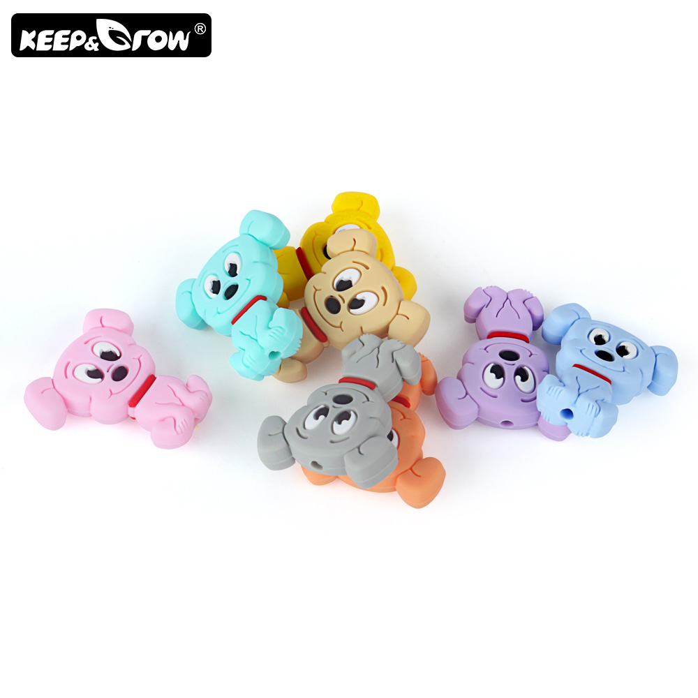 Keep&Grow 10pcs Mini Cartoon Dog Silicone Beads Rodents Baby Teethers Bead DIY Teething Necklace Perle Silicone Baby Products