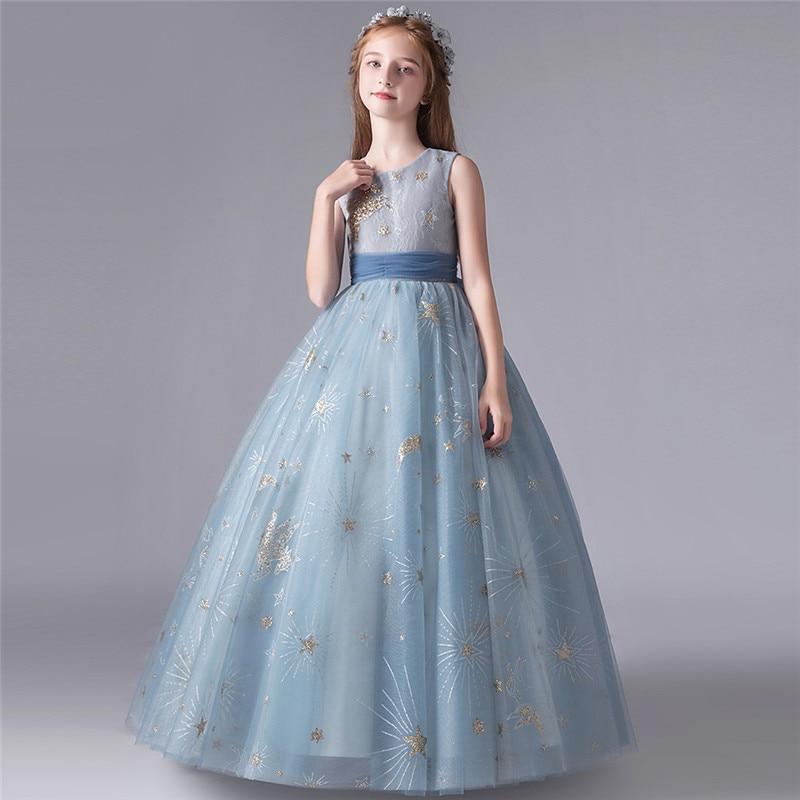 Luxury New Girls Children High-Quality Birthday Evening Party Princess Fluffy Dress Kids Host Piano Pageants Communication Dress