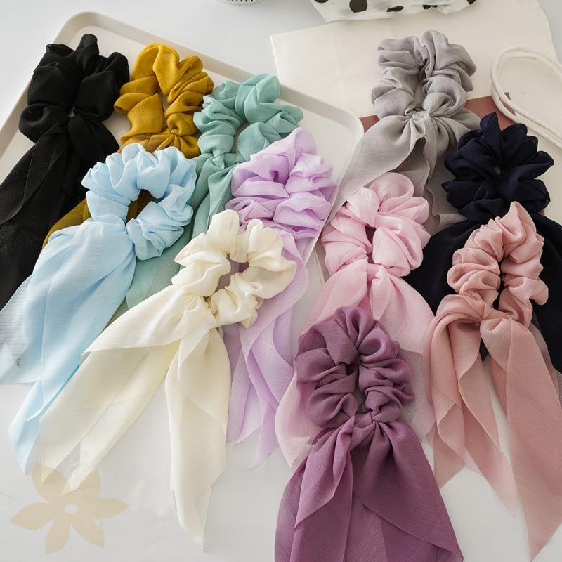 2020 Fashion Women Chiffon Thin Bow Ribbon Hair Band Elastic Hair Rope Scrunchies Headwear Ponytail Hair Ties Hair Accessories