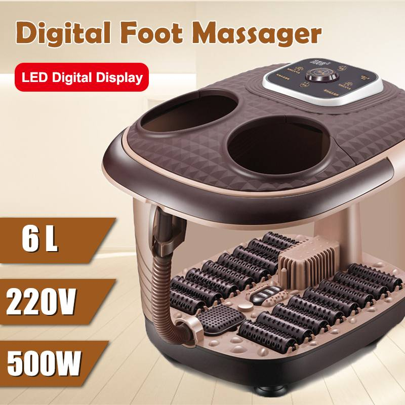 220V Electric Foot Spa Bath Massager Rolling Vibration Heat Electric Oxygen Bubbles Foot Massage For Relieve Pressure Relaxation