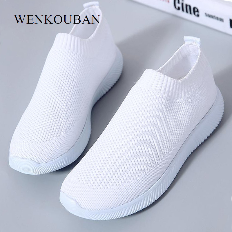 2020 Women Sneakers Fashion Socks Shoes Casual White Sneakers Summer Knitted Vulcanized Shoes Ladies Trainers Tenis Feminino