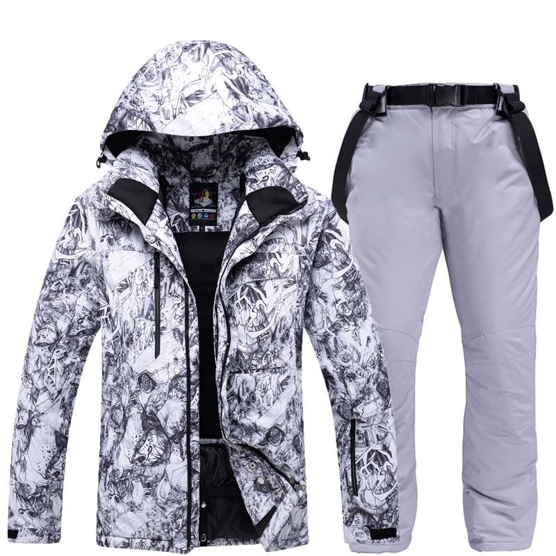 -30 Warm Men's Snow Suit Wear Snowboarding Sets Winter Outdoor Sports Waterproof Thicken Winter Costume Ski Jackets + Snow Pants
