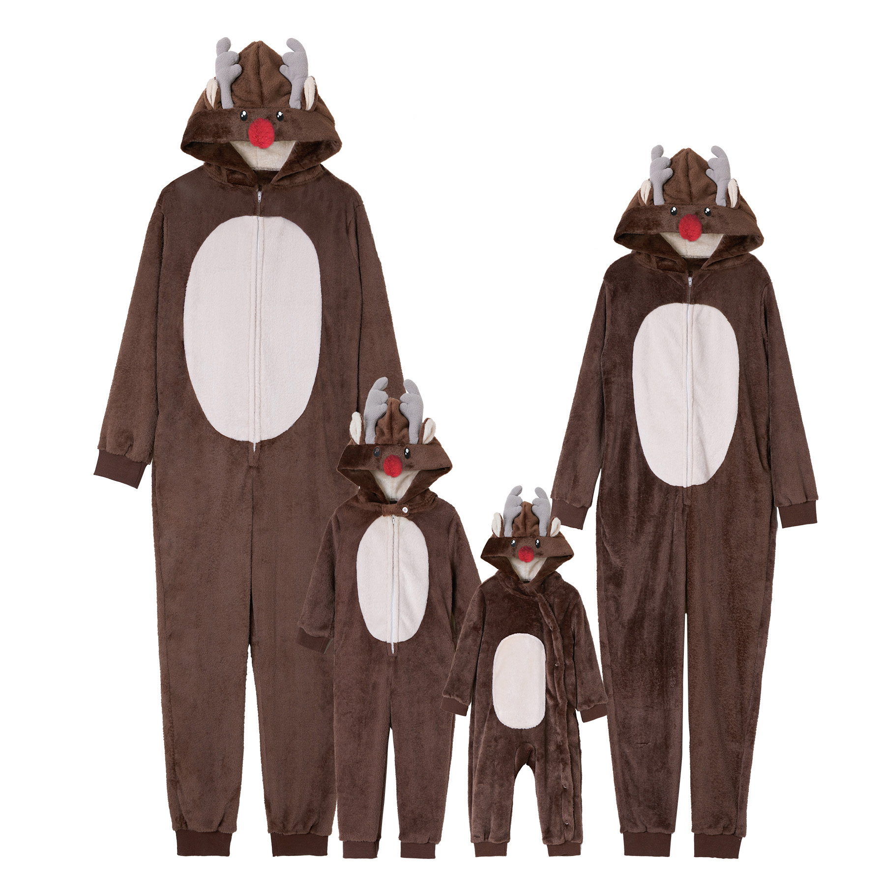 PatPat Deer Onesies Family Matching Autumn Casual Long-sleeved Family One-piece Zippered Hood Pajamas