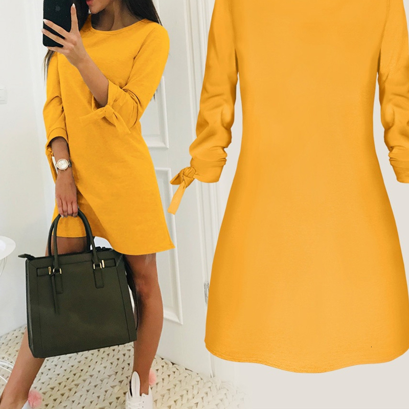 RICORIT 2019 Fashion Dress Elegant Solid Color Round Neck Long Sleeves Casual Office Lady Dress Vestido