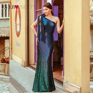 Image 1 - Paillettes robes de soirée longue jamais jolie EP07336 sirène une épaule sans manches Sexy moulante Abiye robes élégantes robes de soirée