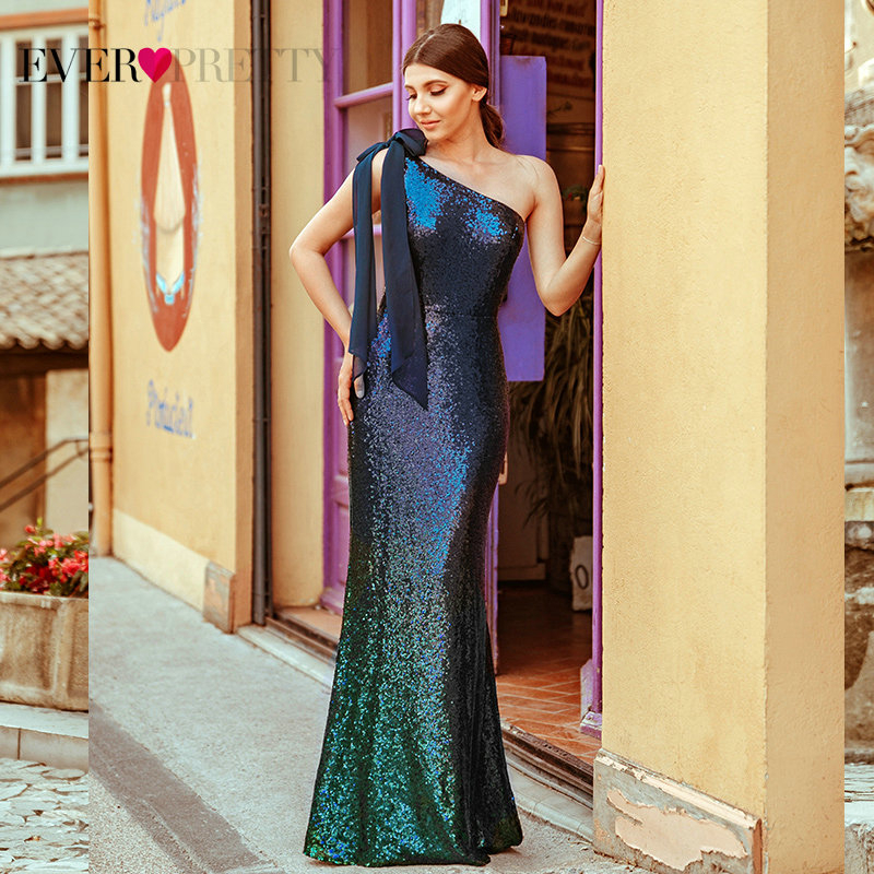 Sequined Evening Dresses Long Ever Pretty EP07336 Mermaid One Shoulder Sleeveless Sexy Bodycon Abiye Dresses Elegant Party Gowns
