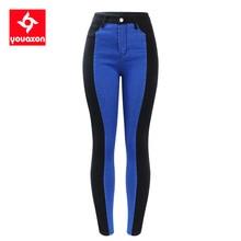 2131 youaxon calças de brim de cintura alta mulher preto & azul elástico listras laterais denim calças magros para calças de brim femininaswomen jeansjeans womanpatched jeans women