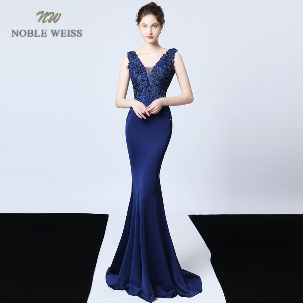 Evening Dresses Sexy V-neck Mermaid Blue/green Satin Prom Dress Floor Length Appliques In Stock Evening Gown