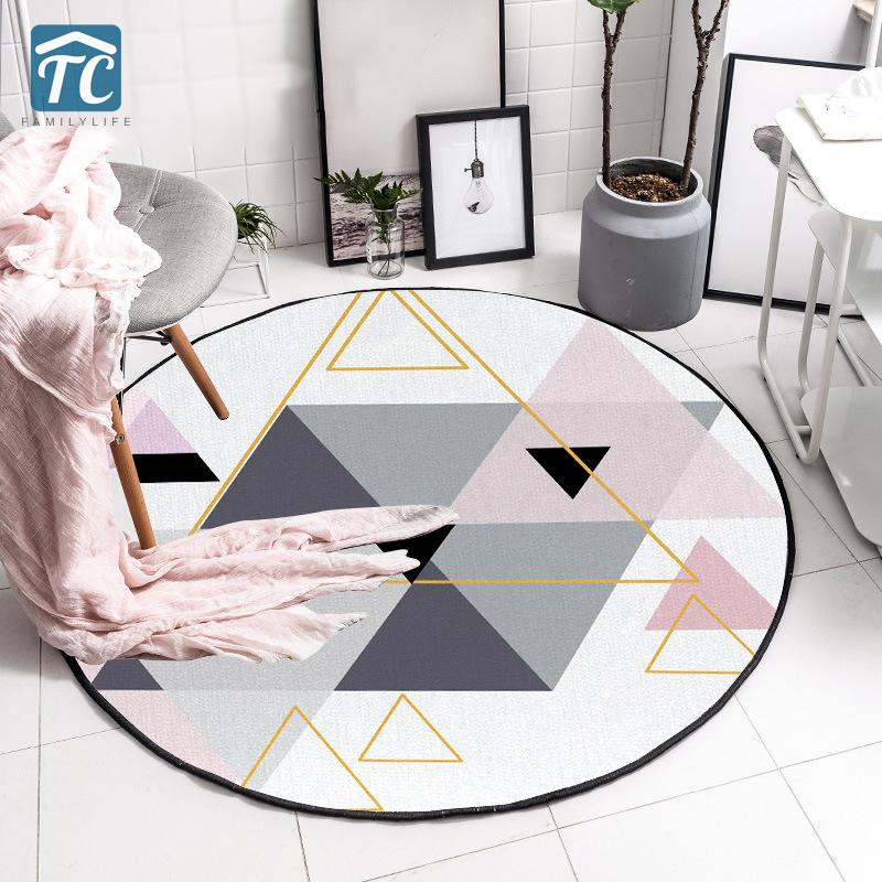Carpet Mat Round Bedroom Living Room Simple Nordic Carpets Home Textile Kitchen Door Modern Abstract Floor