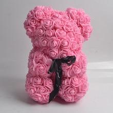 Valentines Day Gift 25cm rose bear Red Rose Teddy Bear Soap Foam flower bear