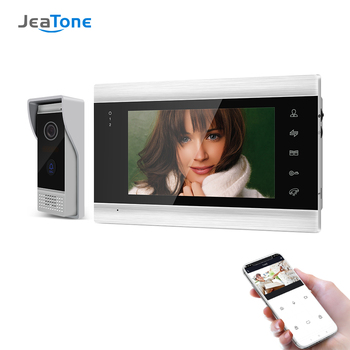 Jeatone 7 Inch Wireless WiFi Smart IP Video Door Phone Intercom System with 1x 720P Wired Doorbell Camera,Support Remote unlock build in battery long time standby wireless wifi 720p ip doorbell intercom system