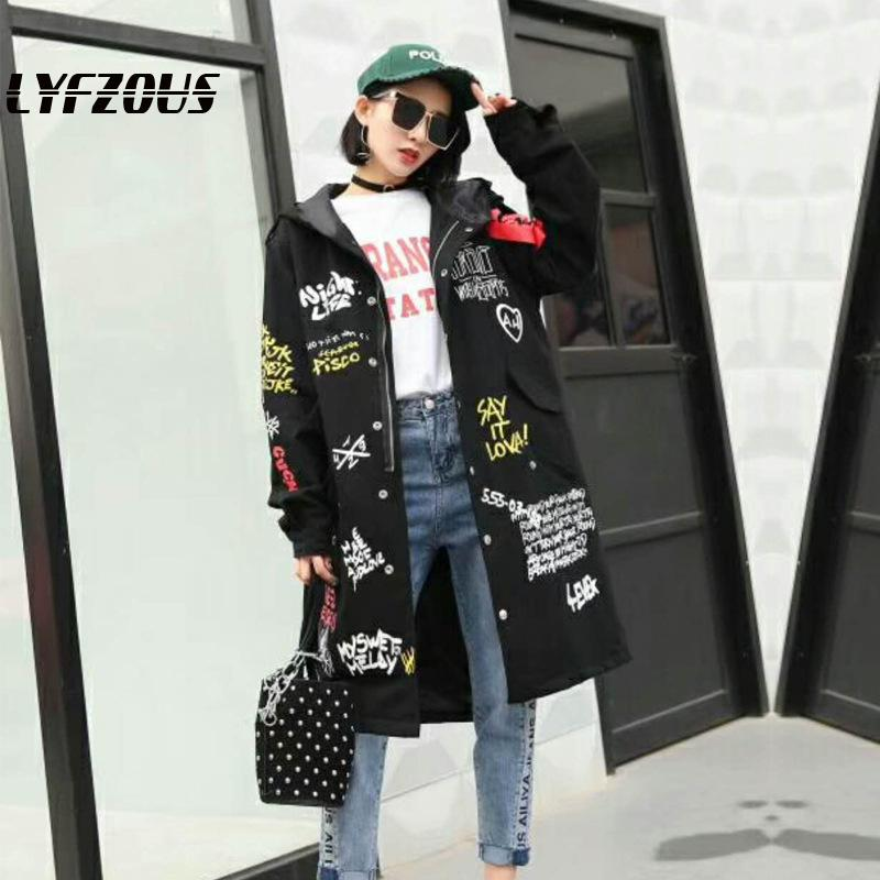 Graffiti Print   Trench   Coat Women Hooded New military Outwear Womens Cartoon Prints Oversize Winderbreaker female Handsome Coats