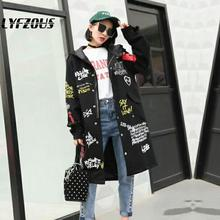 Graffiti Print Trench Coat Women Hooded New military Outwear Womens Cartoon Prin