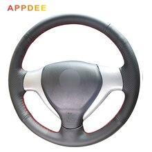 APPDEE черный искусственный кожаный чехол рулевого колеса автомобиля для Honda City 2007-2008 Fit 2007-2008 Jazz 2007-2008