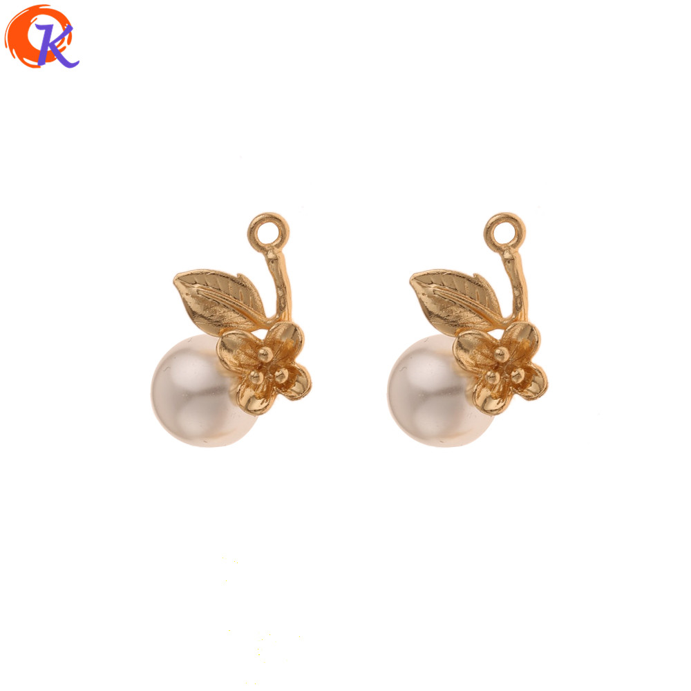 Cordial Design 40Pcs 11*17MM Jewelry Accessories/Flower Charms/Genuine Gold Plating/Imitation Pearl/Hand Made/Earring Findings