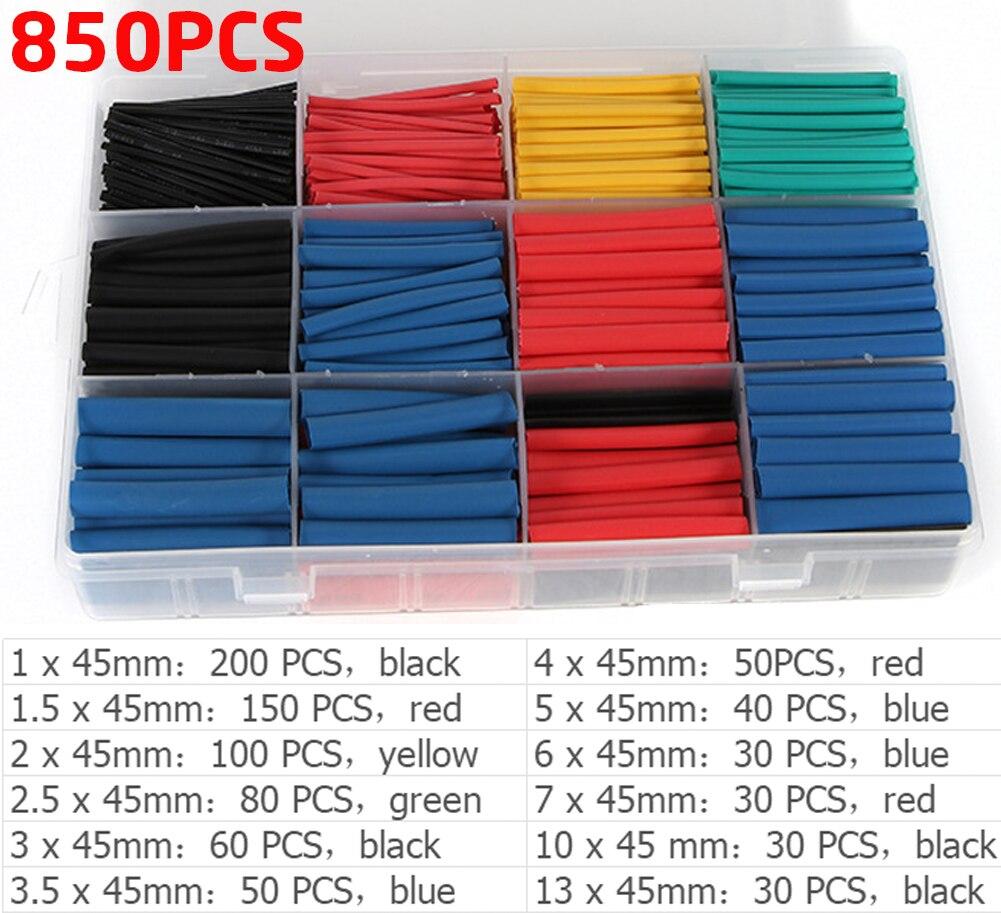 Термоусадочные трубки 200-800 шт. 2:1 5 цветов электрическая кабельная проводка Обёрточная бумага комплект 12 размеров термоусадочные трубки асс...