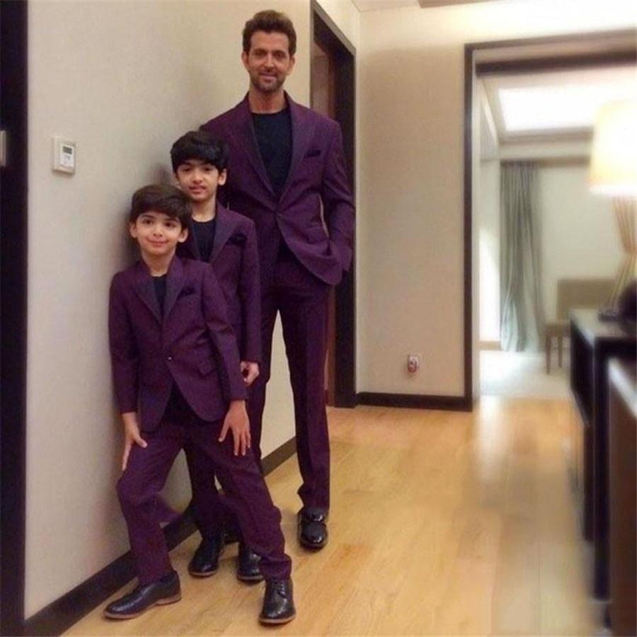 Formal Purple Tailor Men Formal Suits Custom Grooms Wedding Tuxedos Party Suit Groom Groomsmen 2Pieces (Jacket+Pants)