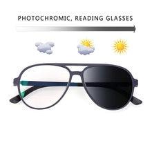 Novo piloto óculos de sol inteligente photochromic óculos de leitura lupa mulheres homens presbiopia hyperopia + 0.25 2.0 a 4.0