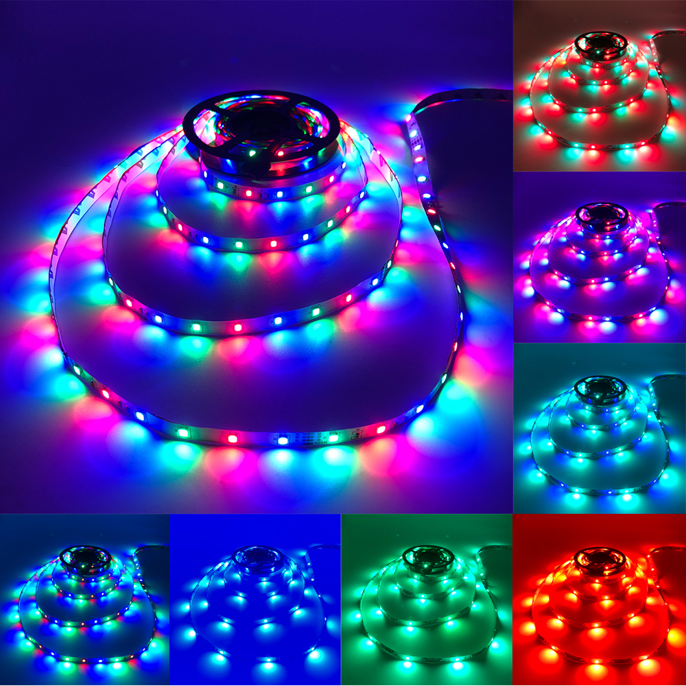 Ha3f838bec212496695a0962e1a118ef2B - 5m 2835 3528 LED Strip Desk Lamp RGB White Red Green Blue Yellow 300Leds IR Remote Controller Holiday Light Night Garden Light