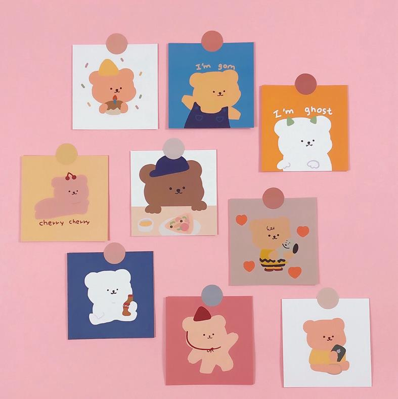 9 Pcs/pack Lovely Candy Bear Cards Bedroom Wall Decoration Girl Non-sticky Greeting Card Postcard Korean Stationery Gift