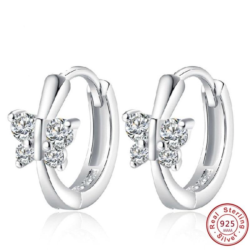 Cute Solid 925 Sterling Silver White CZ Butterfly Stud Earrings For Women Child Girls Kids Bridal Wedding Jewellery