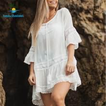 Beachsissi-vestido playero fruncido para mujer, vestido playero Sexy con cordón para mujer, traje de baño de dobladillo bajo alto, ropa de playa 2021