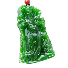 Wholesale Natural Nephrite carving Guan Gong pendants men domineering Lucky Jades pendant necklace jewelry(China)