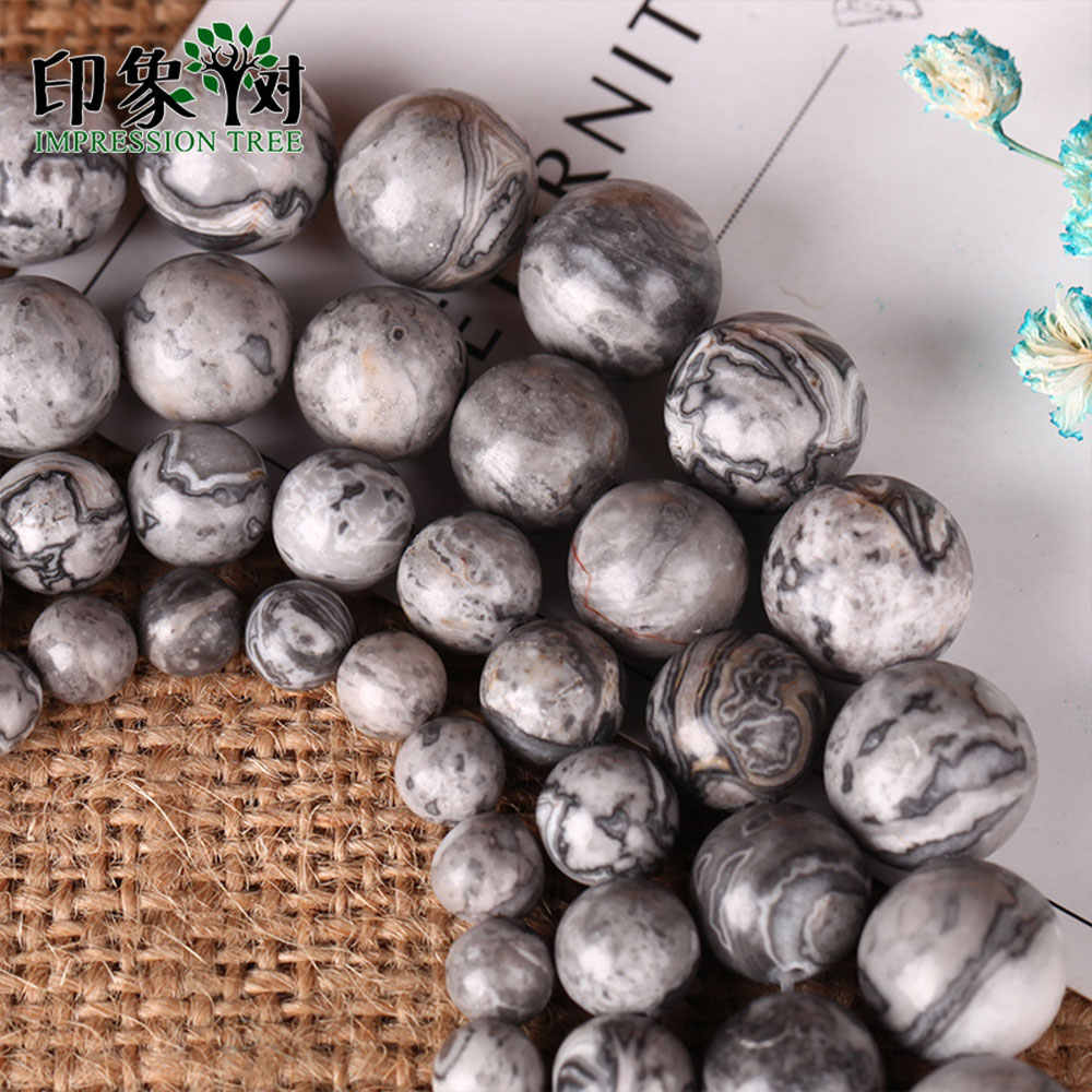1Pc 天然グレーマップ石ビーズ 6/8/10/12 ミリメートル鈍いポリッシュマップ Jaspers マットストーンスペーサービーズフィットネックレス Diy のジュエリーメイキング 1844