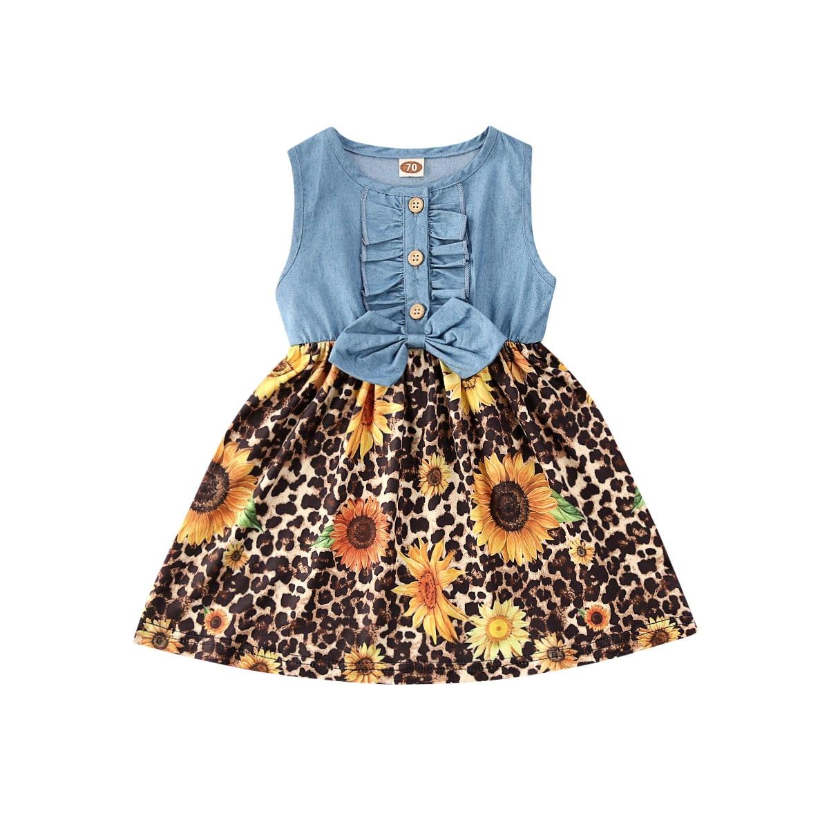 2020 Newly Cute Kids Baby Girls Dress Bowknot Sunflowers Leopard Print Denim Patchwork Sleeveless A-Line Dress