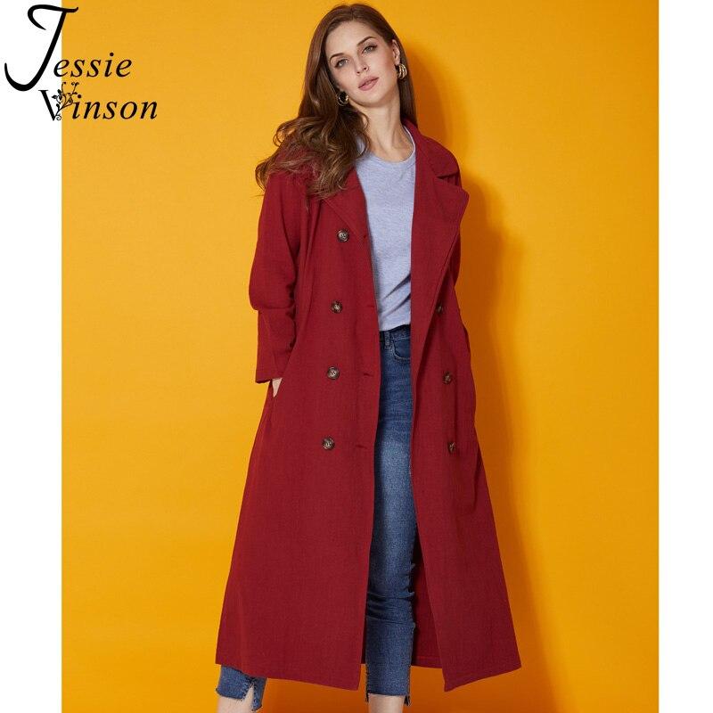 Jessie Vinson тренчкот женский Повседневный хлопковый льняной отложной воротник двубортный карман винный красный длинный Тренч пальто осень