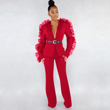 Women Two Piece Sets Autumn Sexy Office Lady Mesh Long Sleeve Causal Blazer Coats Wide Legs Pants Suits Plus Size Red Outfits(China)