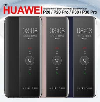 Pour Huawei P30 Pro étui Original miroir Smart View réveil housse de Protection en cuir étui pour Huawei Mate 30 Pro P20 P30 Pro étui à rabat