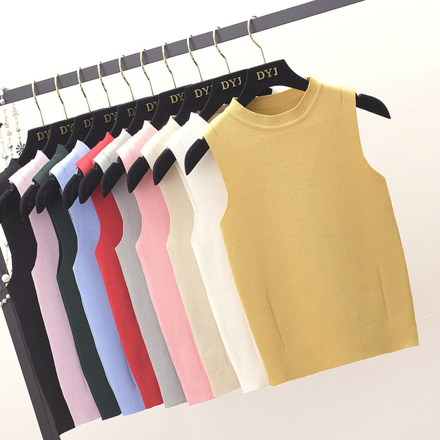 Womens Slim Knitting O neck Simple Camisole Tops Female Knitted Tank Top Sleeveless Basic Solid T shirts for Girl
