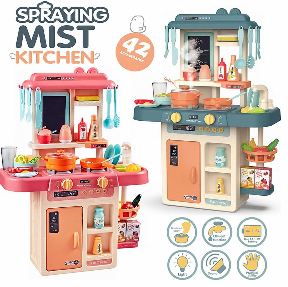 Hot Sales Kids Classic Pretend Play Kitchen Toys Imitate Chef Light Kitchen Sets Cook Fun Game Girl Gift Toys Miniature Food