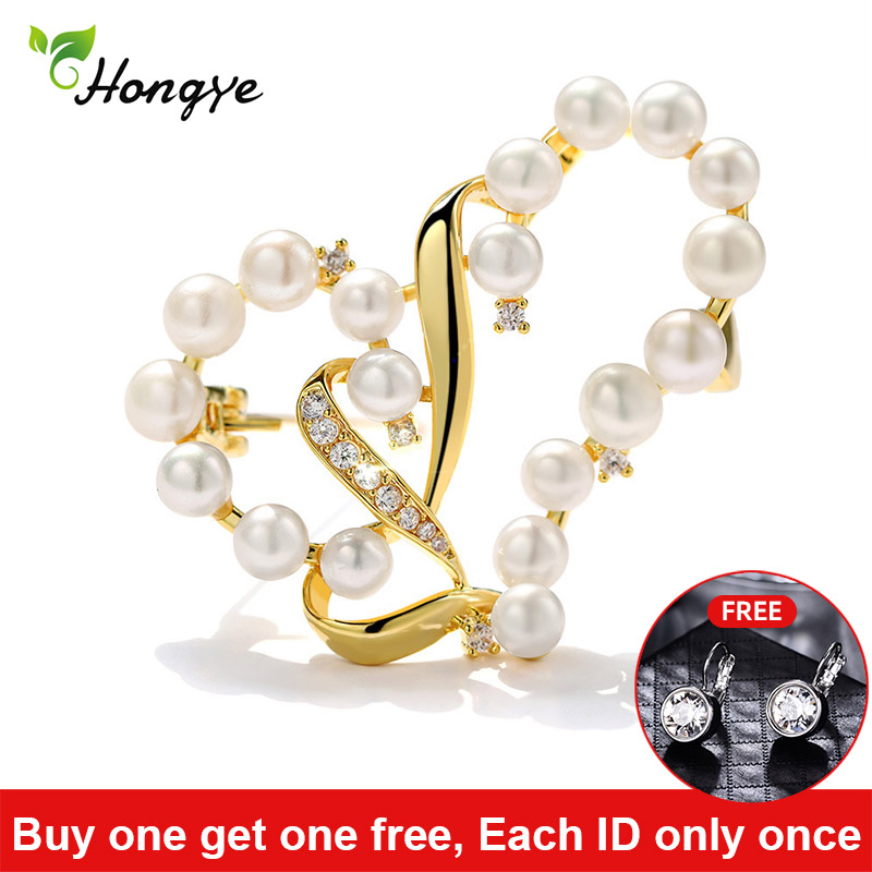 Waved Hollow Heart Natural Pearl Brooch for Women 24k Real Gold Beautiful And Luxury Brooch Pins Dresses Coat Jewelry Gift