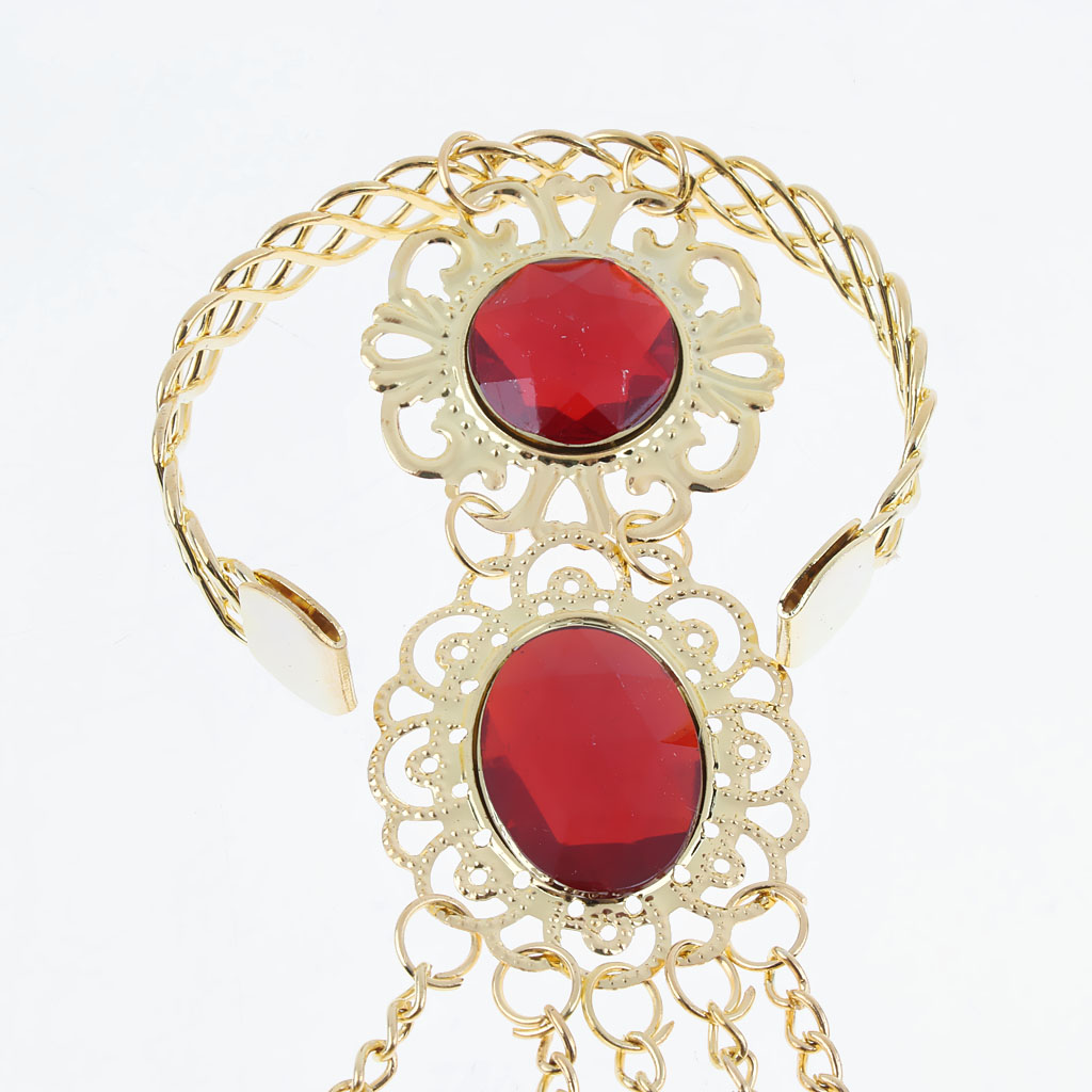 Belly Dance Clothing Accessories Gold Bracelet Finger Nails with Artificial Red Jewelry and Adjustable Wrist Part for Dancer