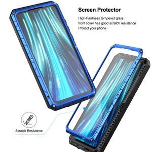 Image 5 - ل شاومي Mi Redmi نوت 8 قضية الهاتف الصلب الألومنيوم معدن الزجاج المقسى حامي الشاشة الثقيلة غطاء ل Redmi نوت 8 برو