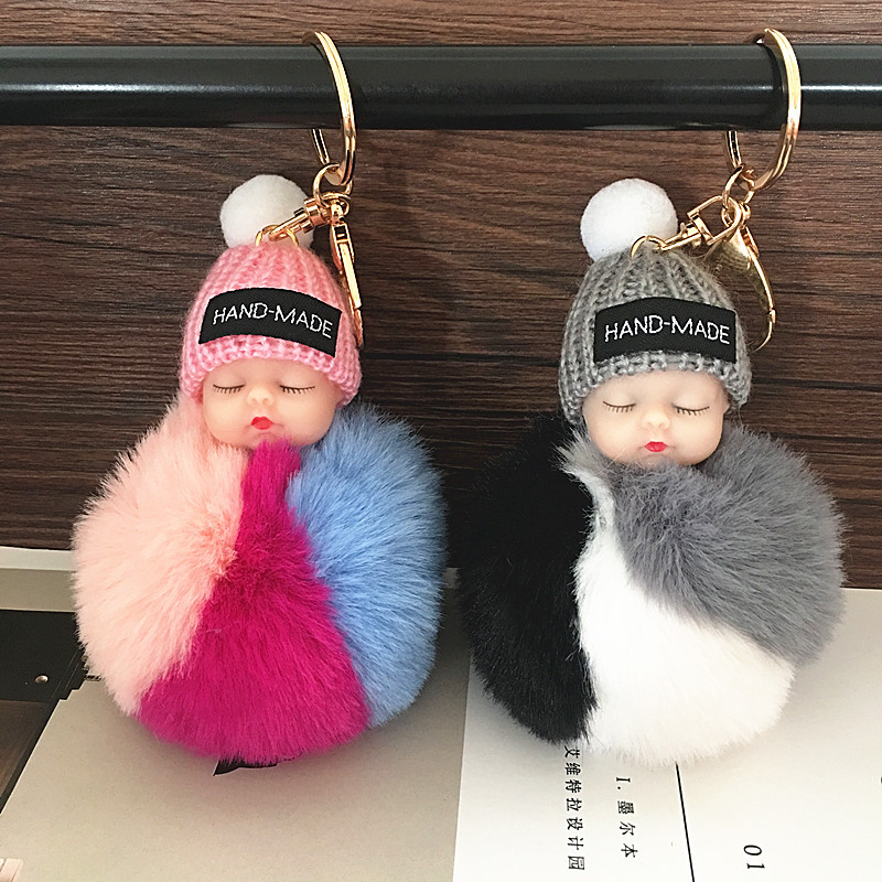 Sleeping Cute Doll Keychain Diy Jewelry Accessories Imitation Rabbit Plush Handbags Ornaments Hanging Decoration