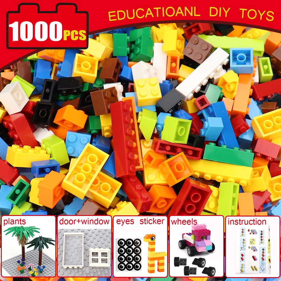 500/ <font><b>1000</b></font> <font><b>PCS</b></font> Colorful DIY Classic Building Blocks Set Parts For Create House Helicopter Car Animals Educational Children Toys image