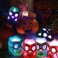 Светодиодный светильник на Хэллоуин, работающий от батареек, 3D Хэллоуин, скелет, свечи, мерцающий Красочный светодиодный, поддельные свечи ...