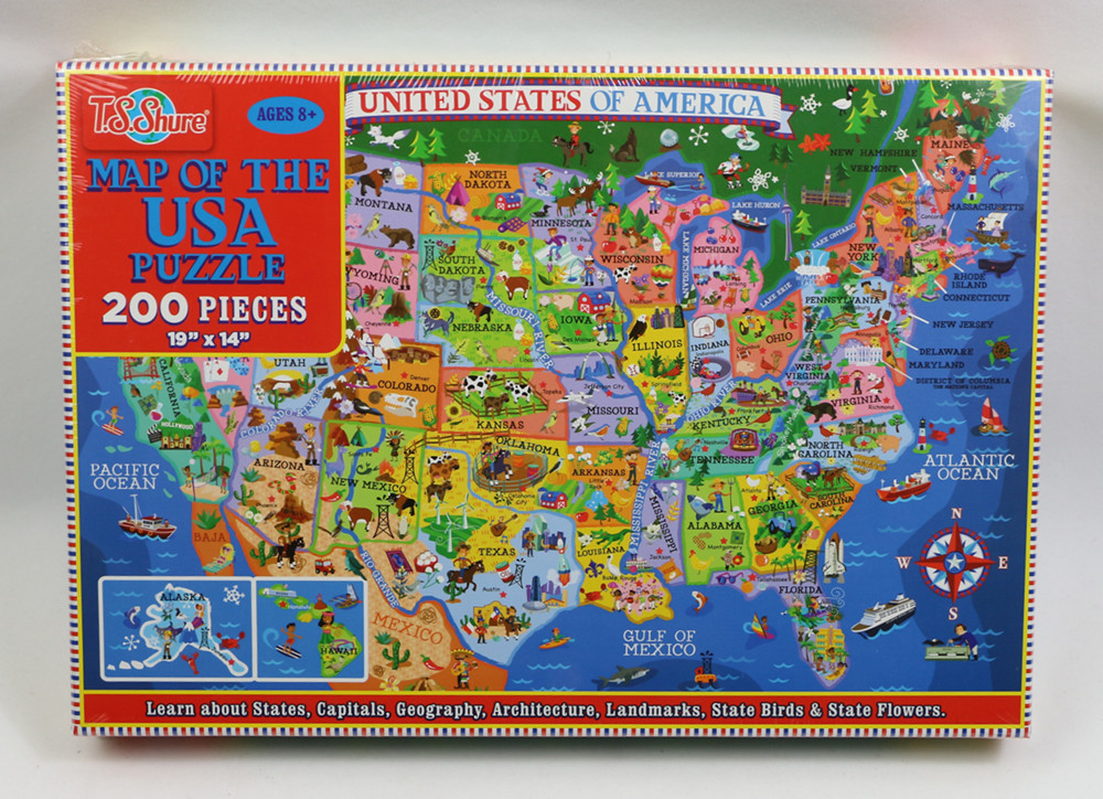 200pcs United States World Map Jigsaw Puzzle Animals World Paper Puzzles Adult Decompression Games Kid Children Educational Toys 8