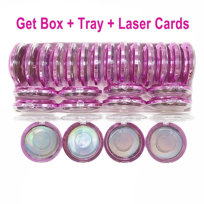 caixas de armazenamento redondas do chicote de vison cilios embalagem caixa de plastico vazio com bandeja