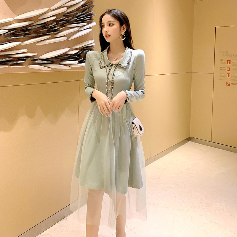 2019 New Women dress Full Sleeve Mesh In Long French Reduction Age Dresses Light Green 6013 image