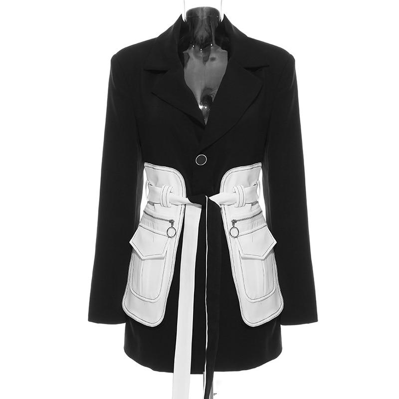 Women Vintage Blazer Colorblock Belted Tunic Long High Street Blazer Jacket
