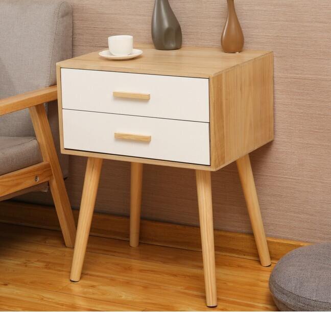 Wood Bedside Table Nightstand Living Bedroom Storage Cabinet 2-Drawer Furniture